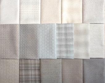 Japanese Yarn Dyed Fabrics - 16 light to medium fat eighths
