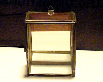 Vintage Mirror Glass and Brass Display Case Box with Door