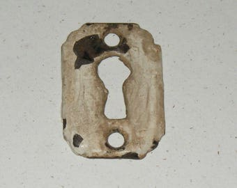 Antique Skeleton Key Keyhole Metal Cover Plate Patina Hardware Escutcheon