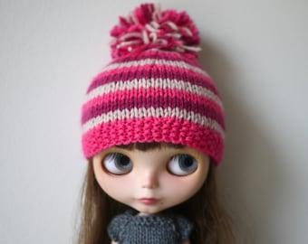 Blythe Hat - Pink Striped Pompom Hat