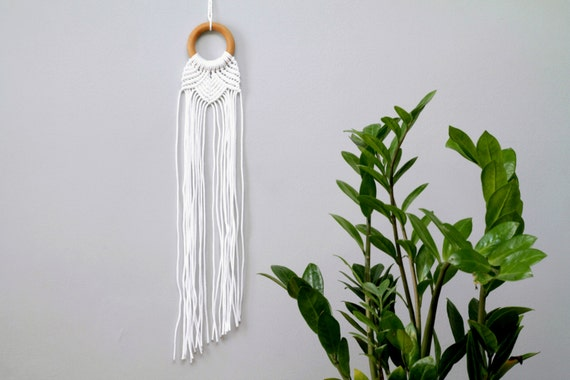 Macrame Wall Hanging. Small Bohemian Wall Decor. Modern Nursery Wall Hanging. White and Wood Decor.