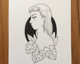 Original drawing - Monstera