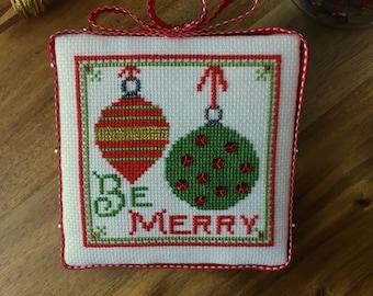 PDF -- Be Merry Christmas Bulb Cross Stitch Pattern