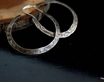 Big silver hoop earrings Hammered handmade artisan silver jewelry Eco friendly Boho Gypsy