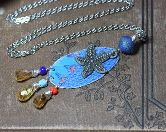 Cut Tin Necklace Recycled Blue Metal Mermaid Luxe Rustic Whimsical Jewelry