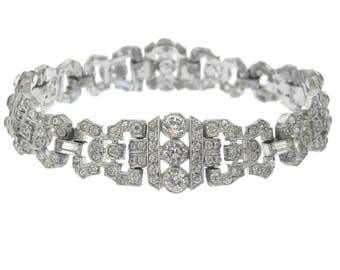 Art Deco KTF Trifari Bracelet, Fine Designer Antique Cuff, 1930s Art Deco Rhinestone Jewelry, Wedding Bridal Jewelry