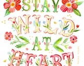 Wild at Heart - on stretched canvas - Katie Daisy art