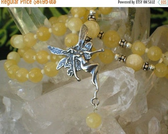 Sale 2017 Aragonite Rosary Necklace Dancing Fairy Pagan Spirit Meditation