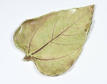 Sunflower  Leaf - Spoon Rest - Ring Dish - Handmade Ceramic