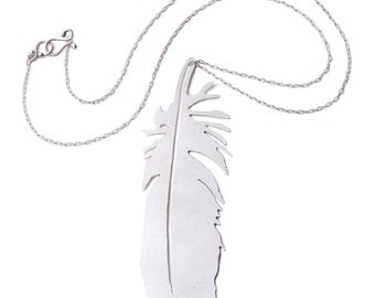Hand cut large sterling silver osprey feather necklace