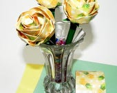 Yellow and Green Pineapple Duct Tape Rose Bud on Ballpoint Pen with Pineapple Design Duct Tape and Green Duct Tape for Stem Color