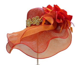 "Kentucky Derby Hat, Spring Fashion Easter Hat, Wedding Guest Hat, Garden and Tea Party Hat in Fire Red and Hot Orange  is - ""MUY CALIENTE"""