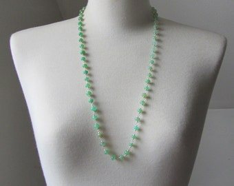 Ombre Green Chrysoprase Wire Wrapped Necklace with Sterling Silver