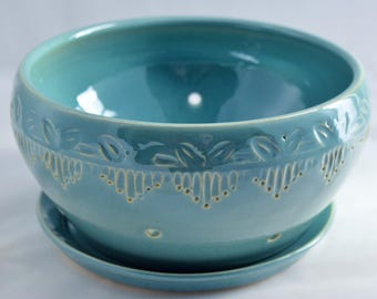 Berry Bowl in Robin's Egg Blue / Aqua - Ceramic Colander - Stoneware Pottery