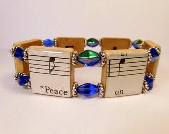 "CHRISTMAS Carol ""Peace on Earth Goodwill to Men"" Lyrics Jewelry / SCRABBLE Bracelet / Vintage Sheet Music / Song"