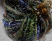 Handspun Curly Cotswold Wool Locks Art Yarn in Dark Green plus Multi Mohair Locks by KnoxFarmFiber for Embellishment Knit Weave