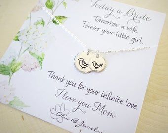 Mother of the bride gift idea, wedding present to mom from daughter, mama bird necklace, hand stamped charm necklace, sterling silver,otis B