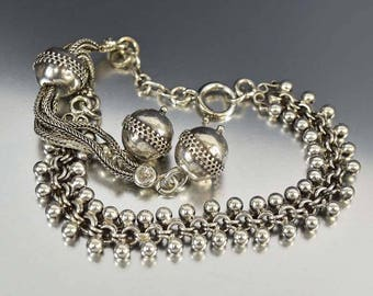 Silver Albertina Watch Chain Bracelet, Ball Tassel Bracelet, Antique Victorian Engraved Charm, Sterling Silver Chain