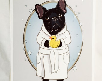 Bubbly French Bulldog - 8x10 Eco-friendly Print