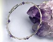 Amethyst Sterling Bangle Bracelet