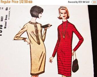 on SALE 25% OFF 1960s Shift Dress Pattern, Misses size 12  Womens Long Sleeve Dress Pattern, Vintage Sewing Patterns