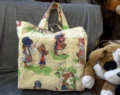 Cotton Shopping Tote Bag, Little Bonnet Girls Print