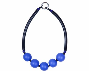 Blue and black bold necklace, designed by Frank Ideas