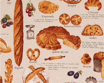 197220 natural-colored pastry bread cake food Canvas fabric from Japan