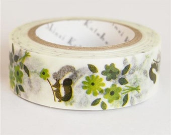 210679 white with green flower squirrel Washi Masking Tape deco tape Shinzi Katoh