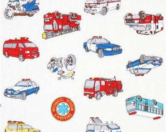 214698 off-white with colorful fire engine police car poplin fabric by Cosmo from Japan