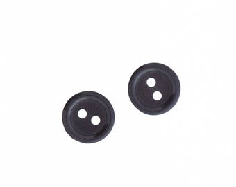 Buttons , 2 hole , 12mm black 24 pcs  per package , PP12