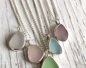 Sea Glass Pendant Necklace Sterling Silver
