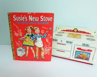 1950 First Edition Susie's New Stove, The Little Chef's Cookbook, Little Golden Book, Signed