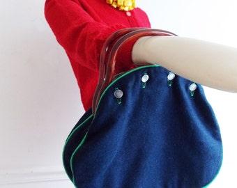 vintage 1950s blue reversible handbag with faux tortoise lucite handles /rockabilly purse / 1960s purse