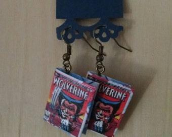 Mini Wolverine Comic Book Earrings - Comic Book Jewelry - Wolverine Comic Book Earrings - Wolverine Comic Book Jewelry - Comic Book Earrings
