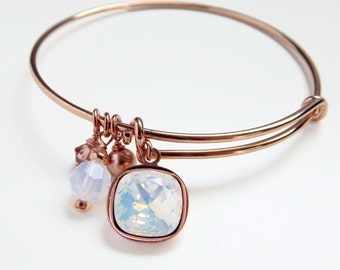 Rose gold bangle crystal charm bracelet - expandable bangle bracelet - white opal - blush pearl - adjustable bangle - Swarovski crystal