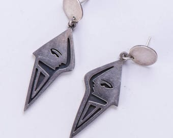 Taxco Sterling Earrings - Long Abstract Faces - Dangle Posts - 21g