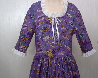 Civil War Costume Pioneer Size 8/10  Colonial Market Dress  Ready to Ship Purple Theater School Play Dres Up Costume Reenactment Dress