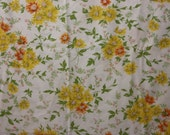 Twin Flat Sheet with Yellow and Orange Flowers, Percale Sheet, Vintage Twin Sheet, Vintage Bed Sheet, Vintage Sheet, Flat Sheet, Retro Sheet