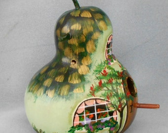 Hand Painted Green Thatched Cottage Birdhouse Gourd