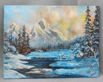 Winter Pond View Study Original Painting