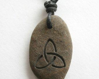 Triquetra Symbol Engraved River Rock Trinity Stone Necklace