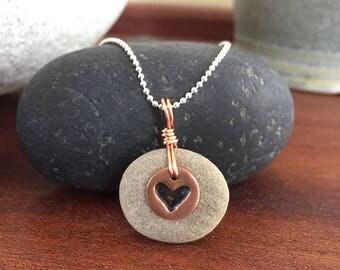 Aromatherapy Necklace, Copper Heart Lake Stone Pendant, Essential Oil Diffuser, Beach Stone Jewelry, Sandstone Natural Pendant