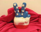 Vintage Hand Peace Sign Bank Stars & Stripes Peace Sign Flag Bank Hippie Mod Groovy