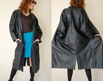 sale 25% off Leather Coat Black Draped Leather Paneled Slouchy Oversized Indie Coat (s m l)