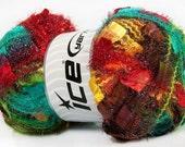 angelo ice yarns . autumn rainbow . 109yd 100 grams . maxi butterfly flag sparkle eyelash ribbon novelty yarn . turquoise red brown green