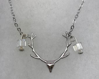 Silver Tone, Deer Skull With Antlers, Beaded, Necklace