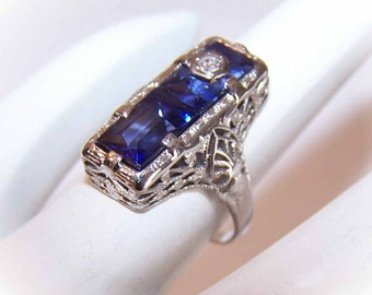 ART DECO 14K Gold, Diamond & Synthetic Sapphire Ring by Belais