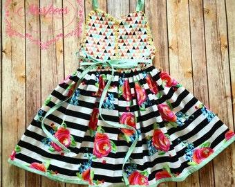 Pocket Full of Posies Floral tank layering dress,  Handmade Dress, Girls Dresses, Mustard Yellow Dress, Autumn Dress