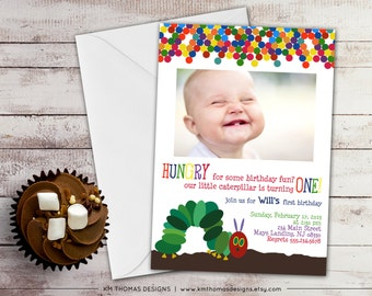 Hungry Caterpillar Photo Birthday Invitation - Printable Birthday Invitation - First Birthday - Boy Invitation - Girl Invitation - BD101